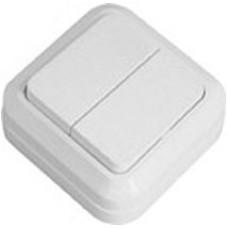 Выключатель 2-клавишный накладной Simply 41-0003 SD-20 белый ELM